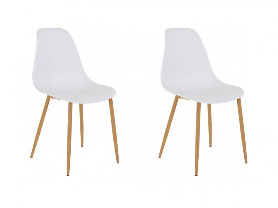 Set de 2 scaune Miller, plastic/metal, alb/maro, 44 x 52 x 87 cm