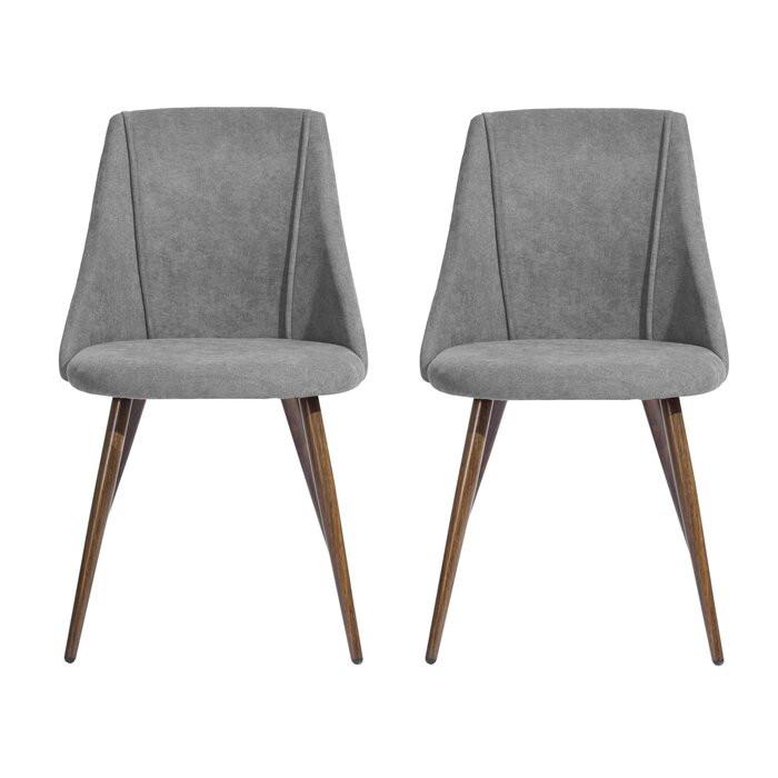 Set de 2 scaune tapitate Ahmed, Gri, 83 x 49,5 x 52 cm