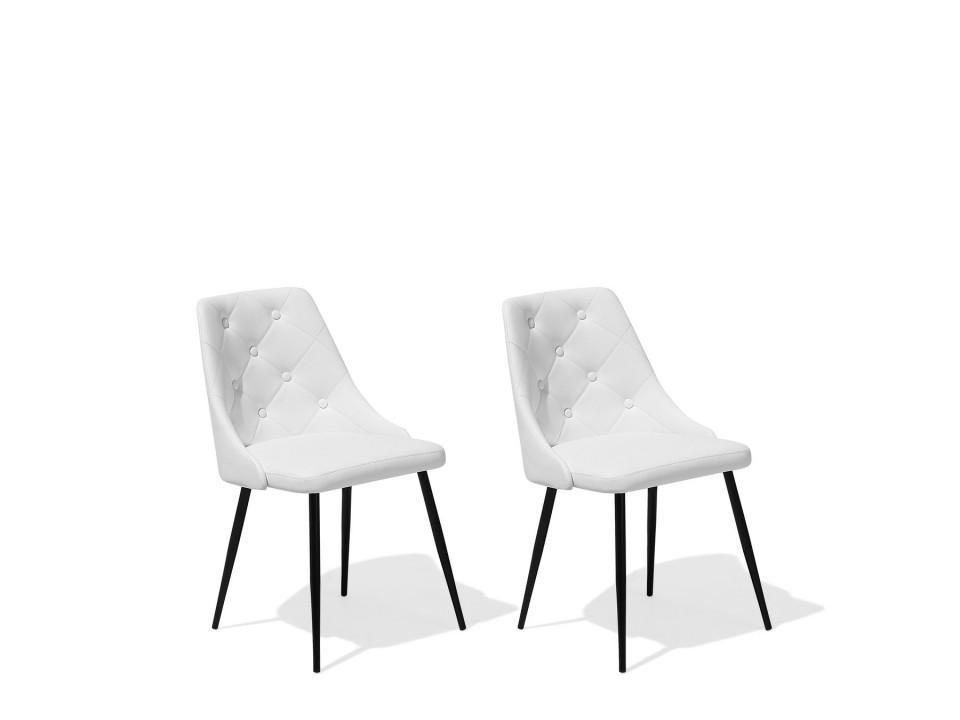 Set de 2 scaune VALERIE, metal/piele ecologica, albe, 49 x 59 x 81 cm poza chilipirul-zilei.ro
