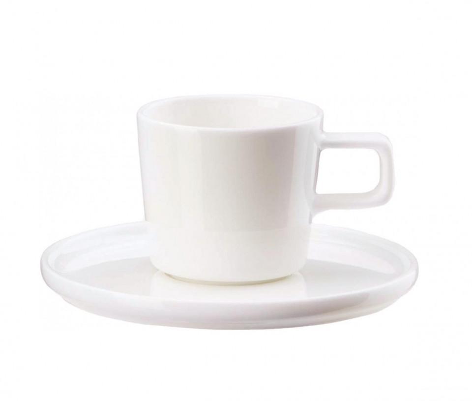 Set de 6 cani si 6 farfurioare pentru cafea Oco, albe 2021 chilipirul-zilei.ro