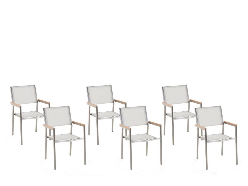 Set de 6 scaune de gradina Grosseto, argintii/albe, 55 x 58 x 87 cm chilipirul-zilei.ro