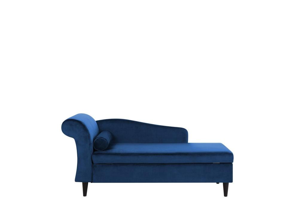 Sezlong Luiro, catifea, albastru, 160 x 70 x 77 cm image0