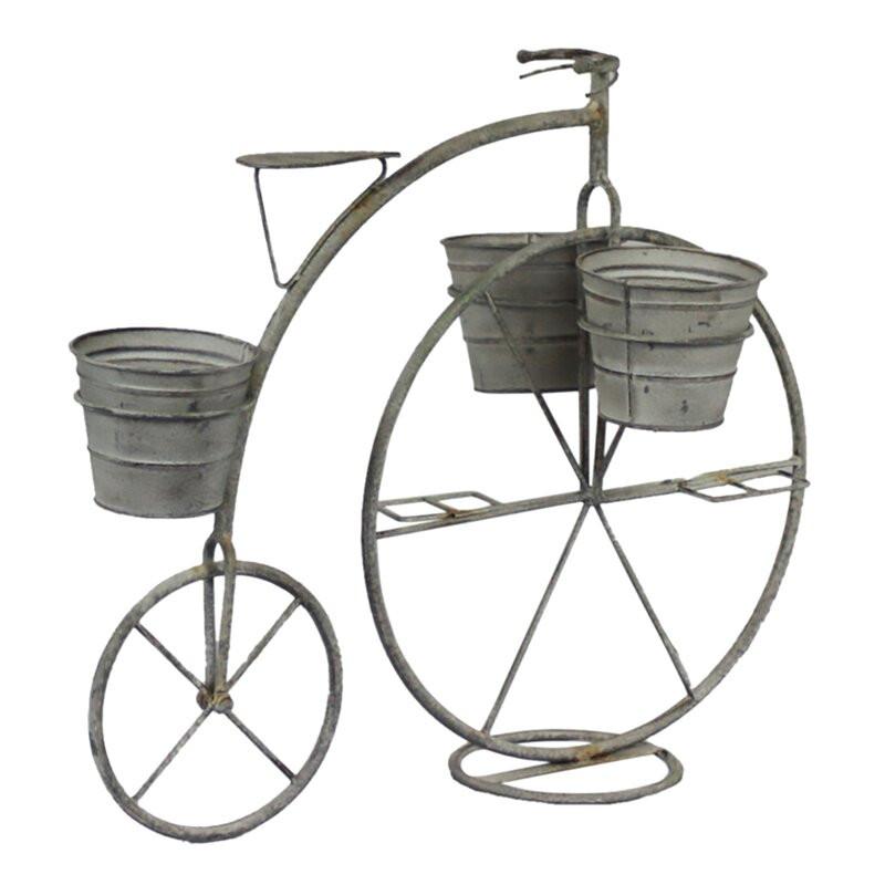 Suport bicicletă pentru ghivece Hillview, metal, gri, 61cm H x 27,5cm W x 51cm D