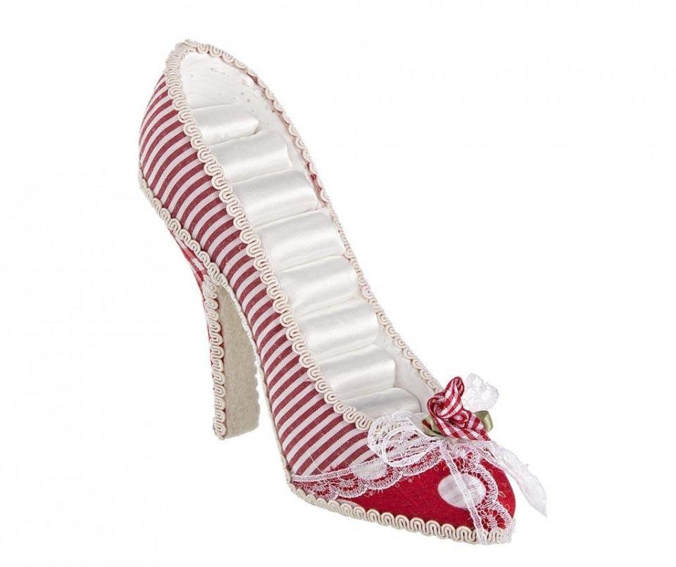 Suport pentru inele, forma pantof, rosu/ alb
