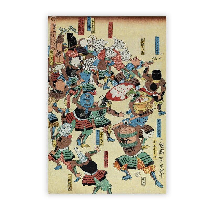 Tablou 'A Riot of Samurai' by Tsukioka Yoshitoshi, 42 x 29 cm poza chilipirul-zilei.ro