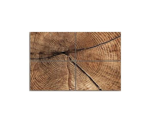 Tablou 'Cross section of Tree Trunk Rings', 4 piese, panza, maro, 80 x 120 x 2 cm chilipirul-zilei 2021