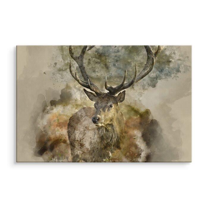 Tablou Deer Wild, bej/maro, 80 x 120 x 2 cm imagine chilipirul-zilei.ro