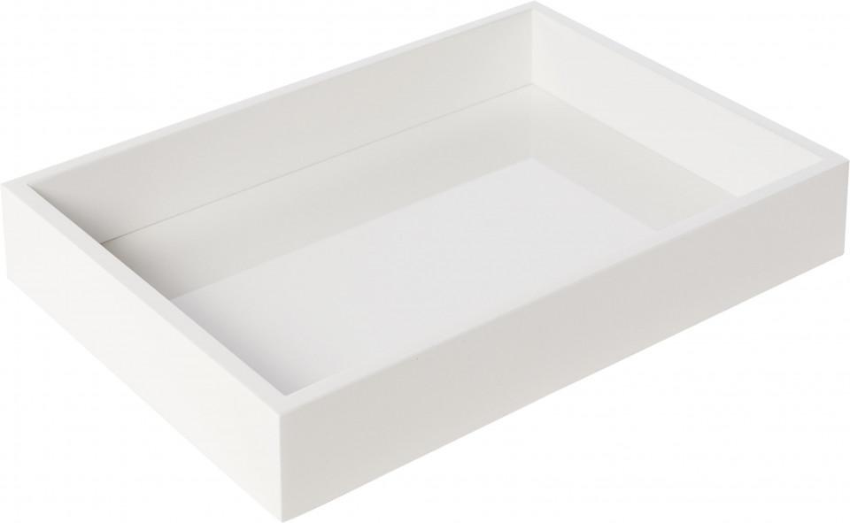 Tavă Tracy albă cu efect lucios, 33 x24 x 5 cm imagine 2021 chilipirul zilei
