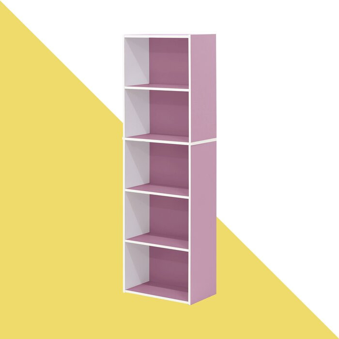 Bibliotecă Aliesha, alba/roz, 132 x 40 x 24 cm chilipirul-zilei 2021