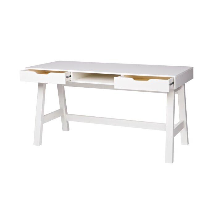 Birou Bragg, lemn, alb, 75 x 140 x 62 cm