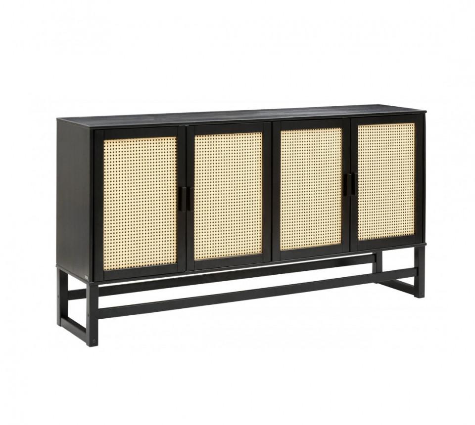 Bufet Jolene, lemn masiv/ ratan, negru/bej, 170 x 38 x 90 cm image0