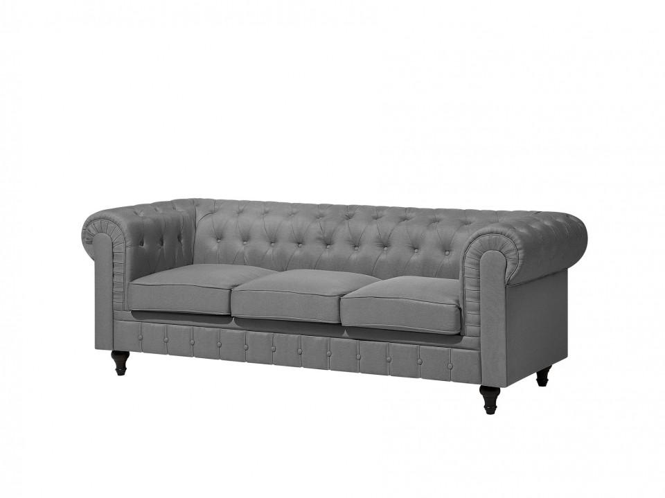 Canapea Chesterfield, 3 locuri, stofa gri deschis