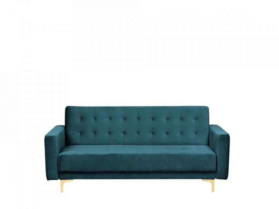 Canapea extensibilă Aberdeen cu 3 locuri din catifea, verde smarald