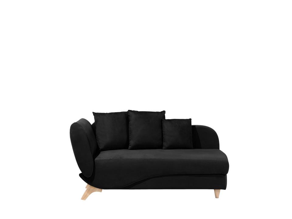 Canapea MERI, catifea, neagra, 156 x 72 x 77 cm