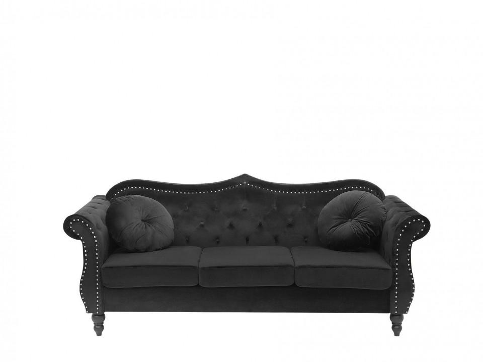 Canapea SKIEN, catifea, neagra, 91 x 200 x 83 cm chilipirul-zilei 2021