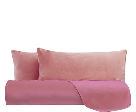 Cearsaf drept de pat si 2 fete de perna, catifea, roz, matrimonial