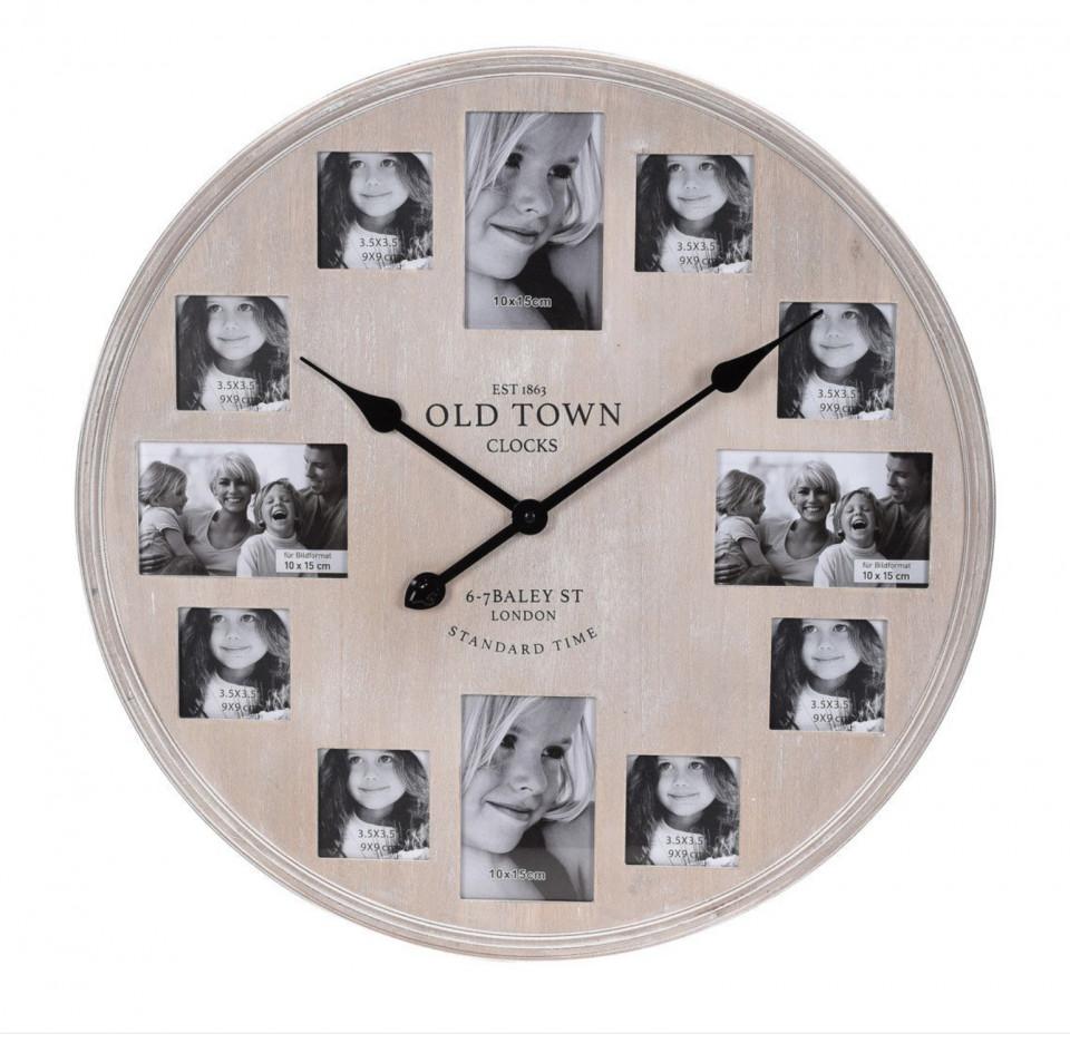 Ceas de perete cu rame foto, 60 cm, lemn, maro poza chilipirul-zilei.ro