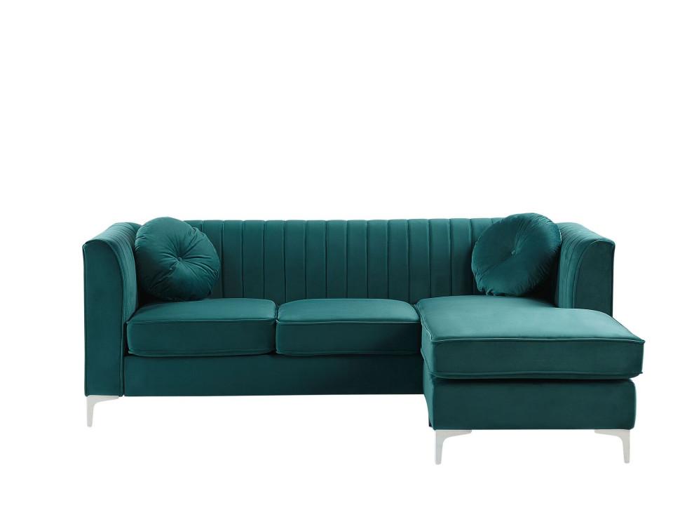 Coltar pe stanga TIMRA, catifea, verde smarald, 220 x 160 cm 2021 chilipirul-zilei.ro