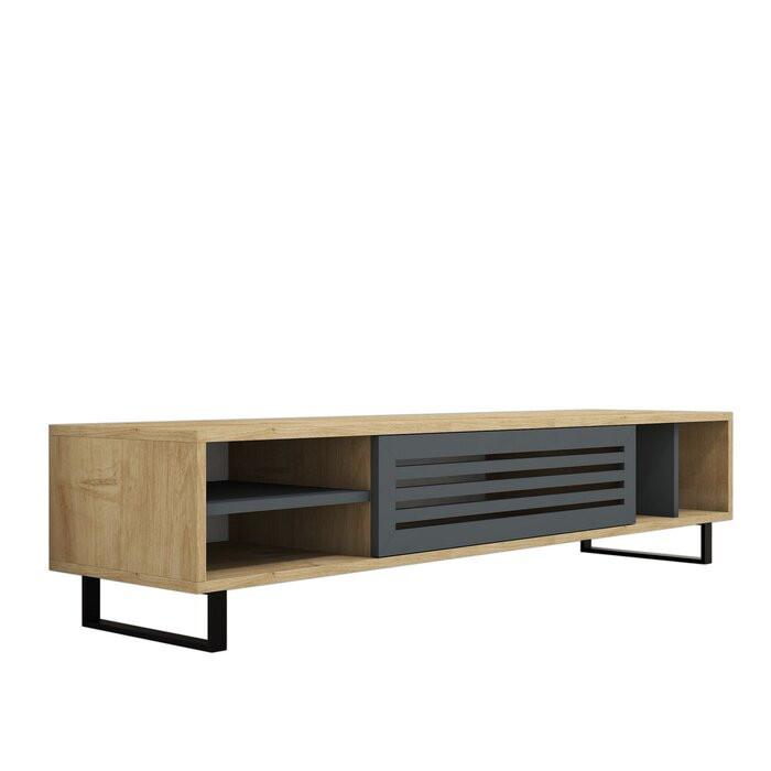Comoda TV Dannielle, melamina, maro/negru, 160 x 35 x 40 cm