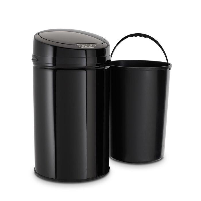 Cos de gunoi, otel inoxidabil, negru, 57 x 31 x 31 cm imagine chilipirul-zilei.ro