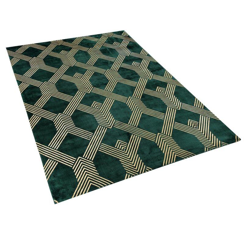 Covor Leachville Vekse 140 x 200cm, verde inchis/ auriu