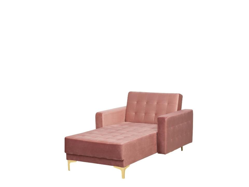 Fotoliu pat Aberdeen din catifea, roz, 140 x 81 cm