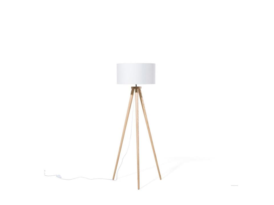 Lampadar cu trepied din lemn NITRA, alb, 142 cm H