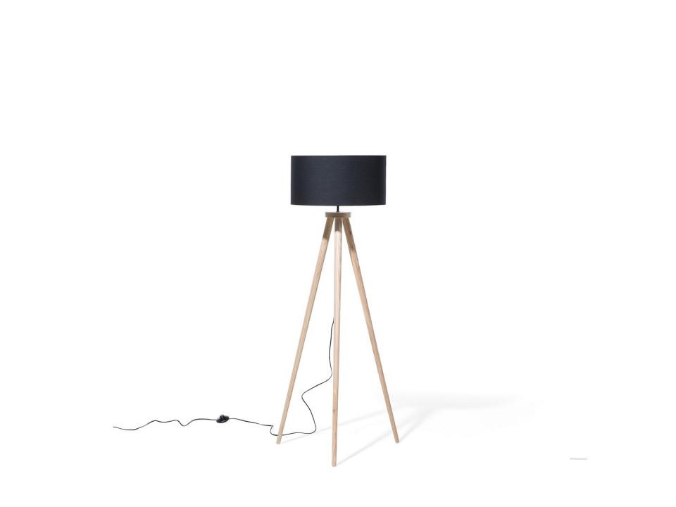 Lampadar cu trepied din lemn NITRA, negru, 142 cm H