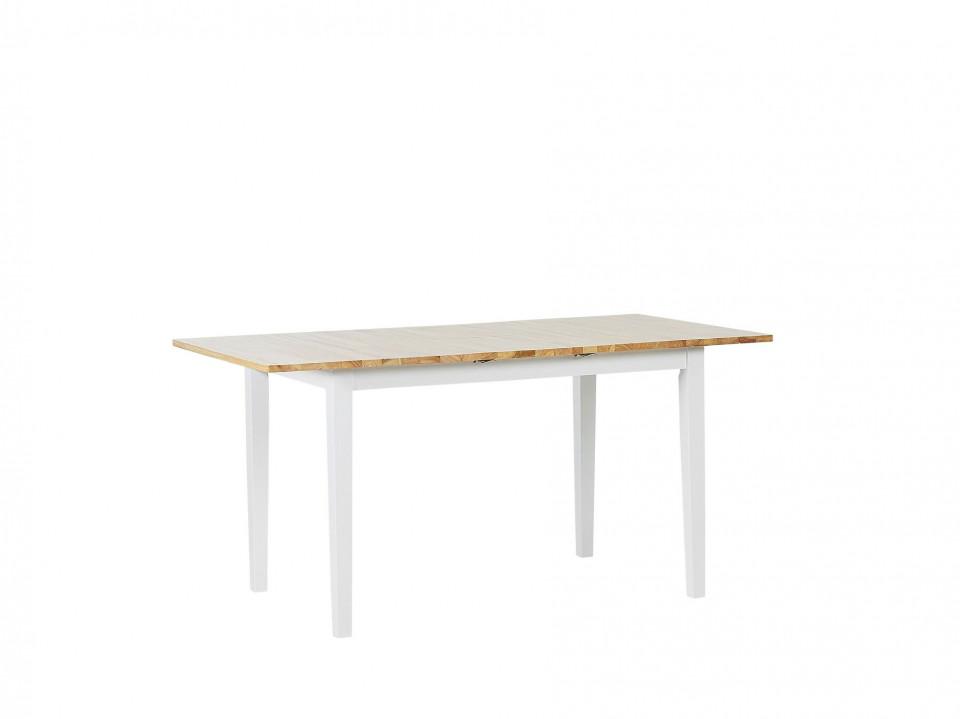 Masă extensibilă din lemn HOUSTON, lemn deschis/alb, 120/150 x 80 cm