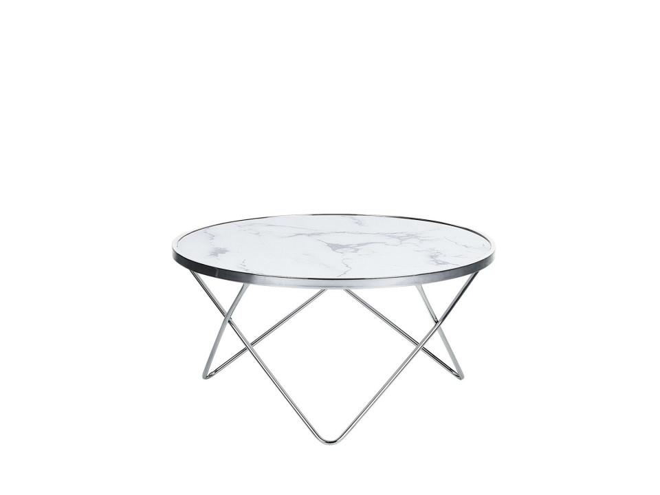 Masuta de cafea MERIDIAN II, sticla/metal, argintie/alba, 40 x 80 x 80 cm