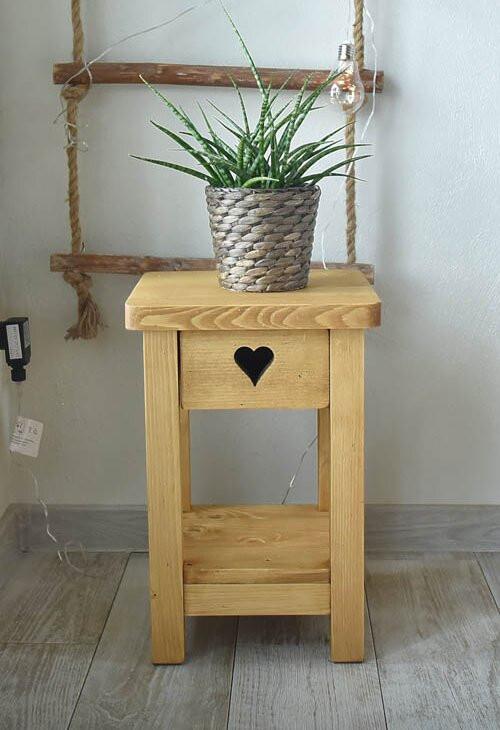 Noptieră Dambrosio cu 1 sertar, lemn masiv, 45cm H x 30cm W x 30cm D