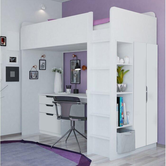 Pat etajat Amarion cu bibliotecă și birou, 90 x 200 cm poza chilipirul-zilei.ro