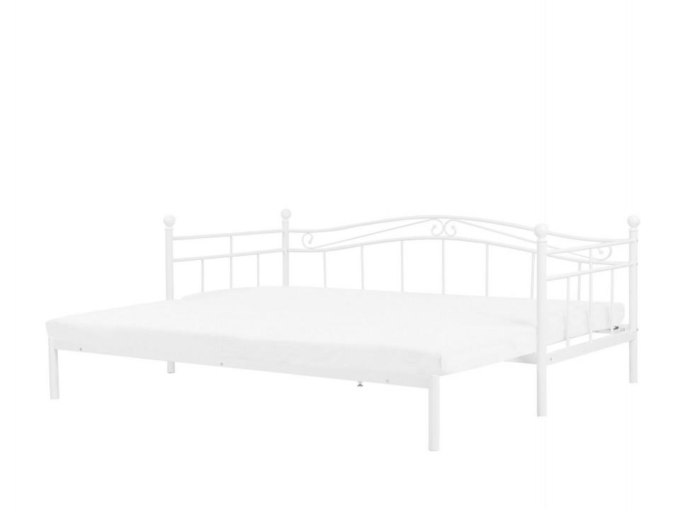 Pat tip divan TULLE extensibil, 80/200 x 200 cm, metal alb poza chilipirul-zilei.ro