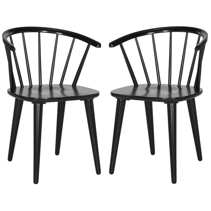 Set 2 scaune Parishville, negru, 75,95 cm H x 54cm L x 52cm D