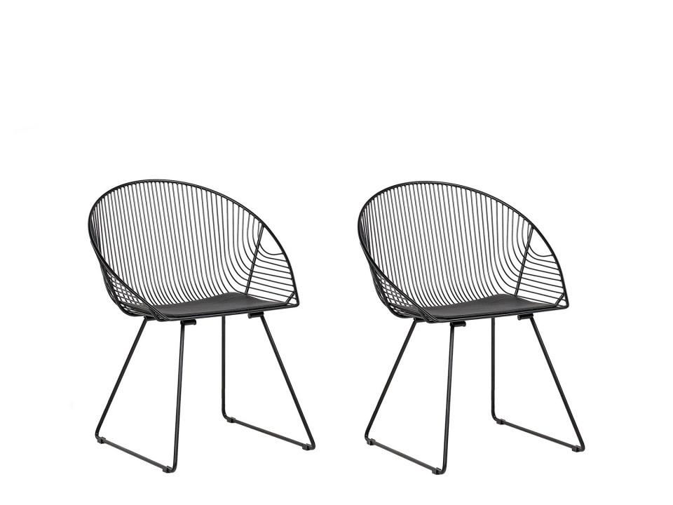 Set de 2 scaune AURORA, metal, negre, 65 x 54 x 77 cm 2021 chilipirul-zilei.ro