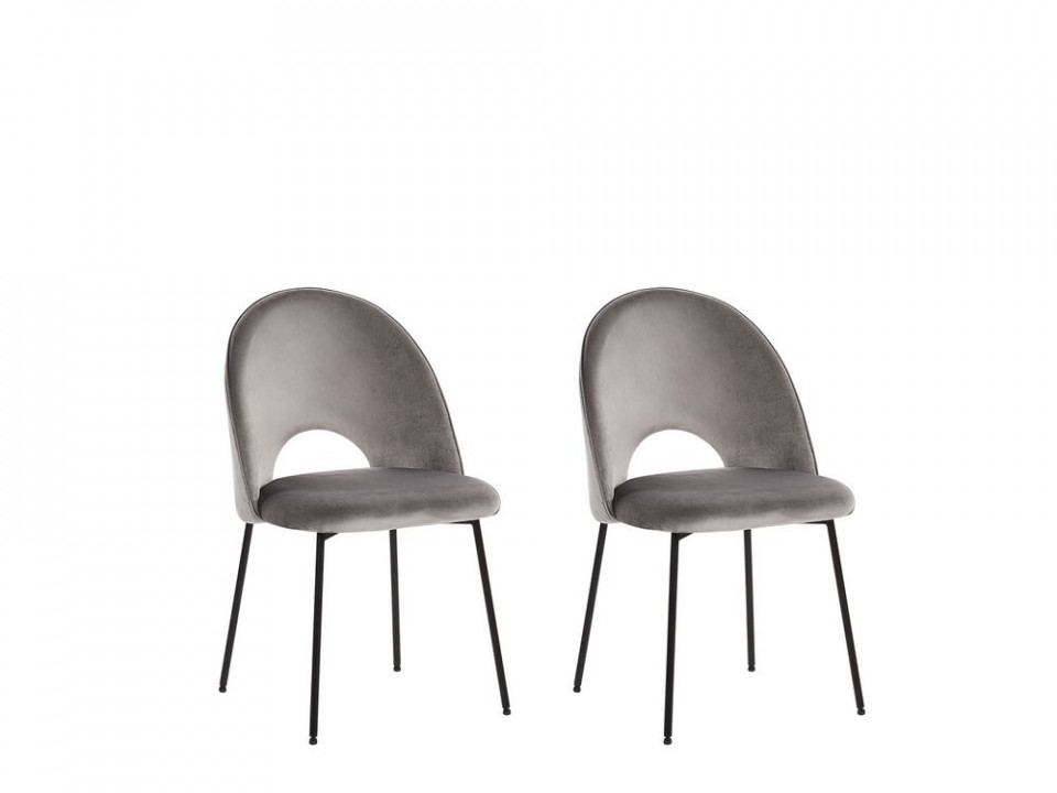 Set de 2 scaune Covel din catifea gri chilipirul-zilei.ro