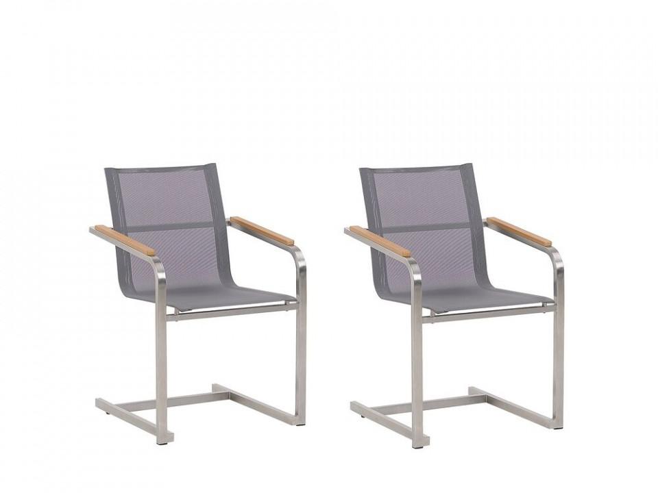 Set de 2 scaune de terasă Cosoleto, gri, 85 x 56 cm poza chilipirul-zilei.ro