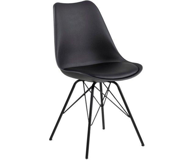 Set de 2 scaune din material sintetic Eris, Negre