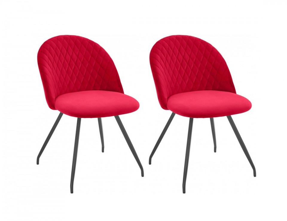 Set de 2 scaune Emma, catifea rosie poza chilipirul-zilei.ro