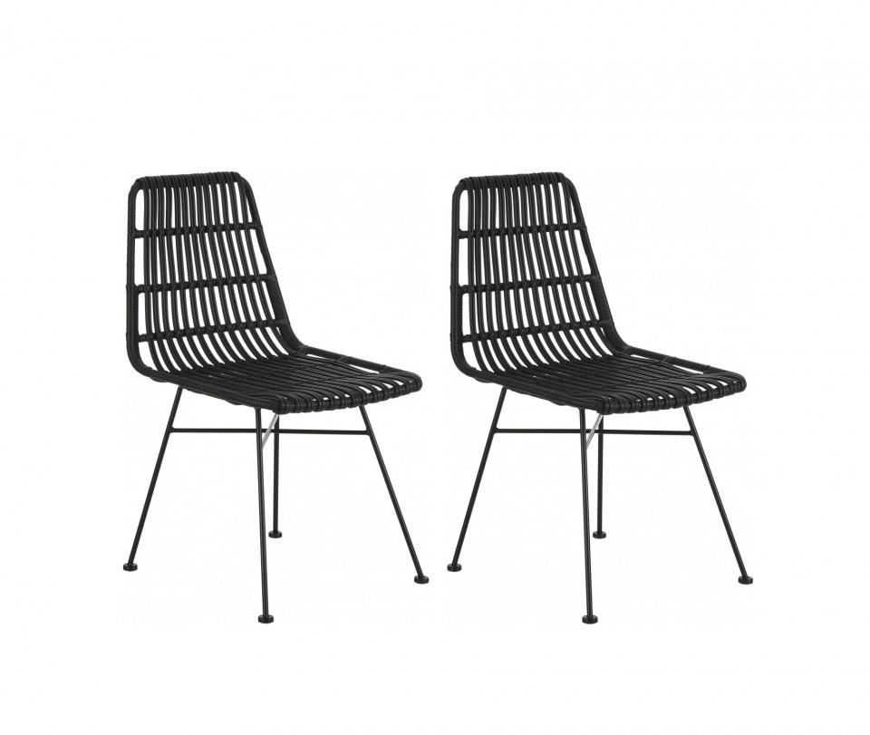 Set de 2 scaune ratan Costa, negru/negru 2021 chilipirul-zilei.ro