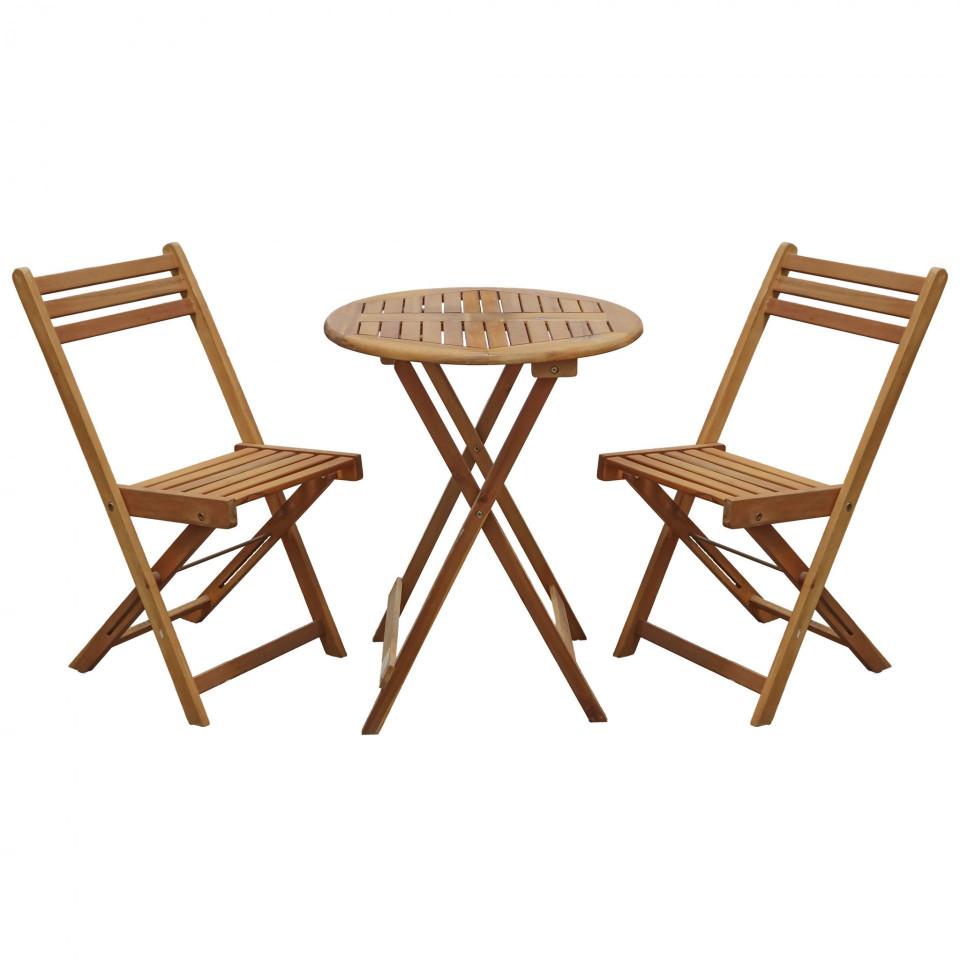 Set de 2 scaune si masa de gradina Leanora din lemn