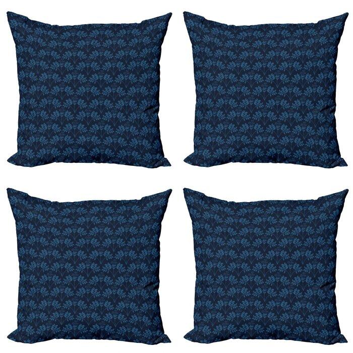 Set de 4 huse pentru perna Hunsinger, albastru inchis, 45,72 x 45,72 x 1 cm poza chilipirul-zilei.ro
