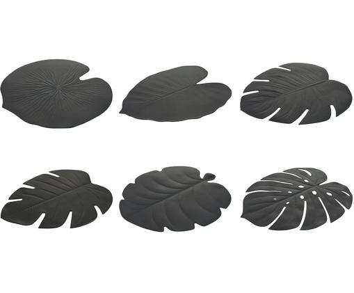 Set de 6 naproane Jungle din plastic, negru imagine chilipirul-zilei.ro