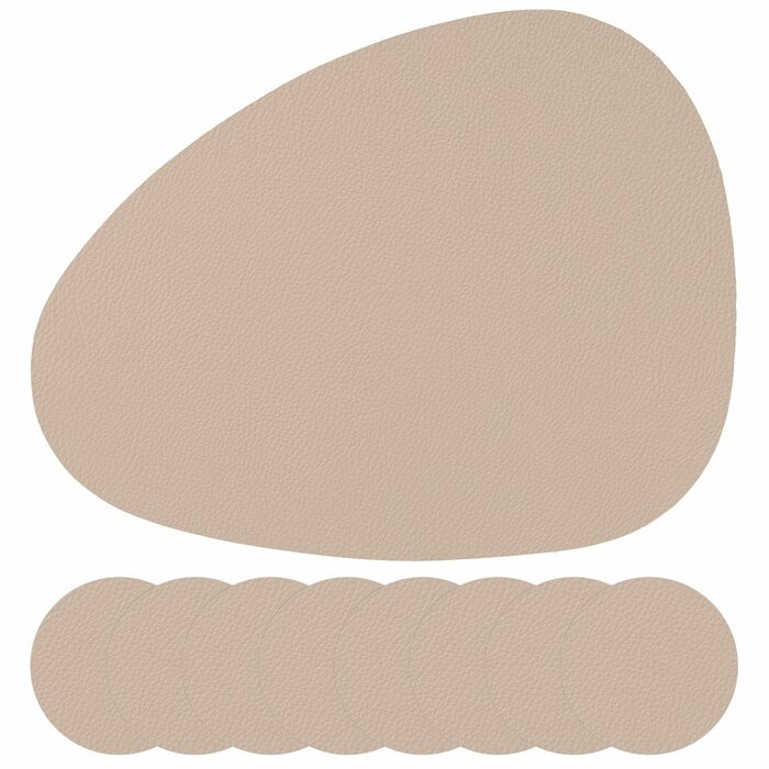 Set de 8 servete de masa Ashleigh, crem, piele imagine chilipirul-zilei.ro