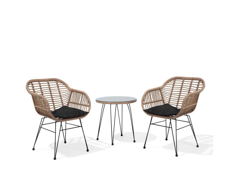 Set de masuta si 2 scaune TROPEA, metal/ratan, maro 2021 chilipirul-zilei.ro