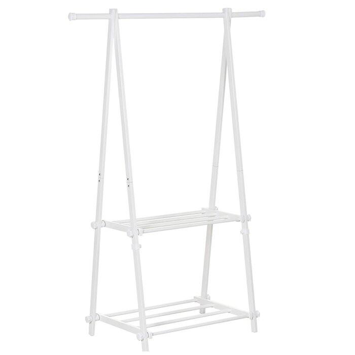Stand pentru imbracaminte Antone, lemn, alb, 150 x 107,5 x 45 cm imagine 2021 chilipirul zilei