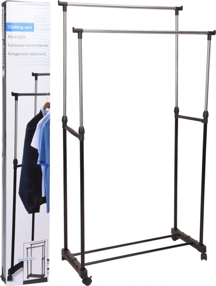 Suport de haine Karll, cu structura metalica, 2 bare, 4 roti, 80 x 42 x 90/160 cm poza chilipirul-zilei.ro
