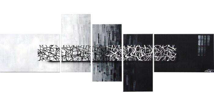 Tablou, 5 piese, panza/lemn, 80 x 210 x 2 cm