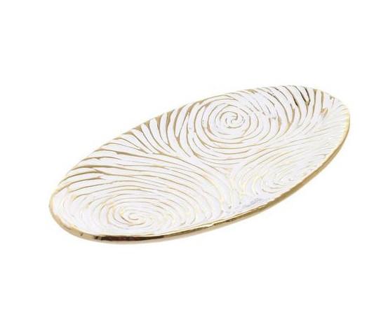 Tavă cu decor fluvial, ceramică, 36 x 4 x 20 cm