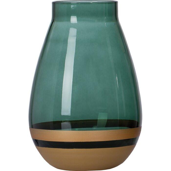 Vaza Walter, sticla, verde, 14 x 10 x 10 cm
